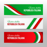Set of modern colorful horizontal vector banners with text Italian Republic Day.  Royalty Free Stock Image