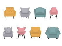Set of modern colorful soft armchair stock illustration