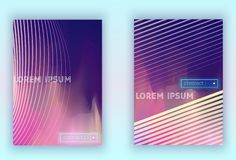 Absract gradient vector geometric cover set. Set of Modern colorful vector geometric leaflet mock up. Futuristic cover promotion design. Vibrant lines vector illustration