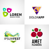 Set of modern creative colorful abstract flower Stock Image
