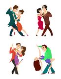 Set of modern dancing young couples. Dancer woman and man, tango dance romantic, vector illustration Royalty Free Stock Photo