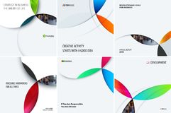 Set of modern design abstract templates with colourful circles intersections. Creative business background Royalty Free Stock Image