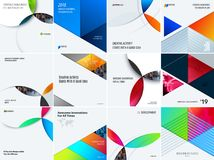 Set of modern design abstract templates with colourful circles intersections. Creative business background Stock Photos