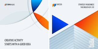 Set of modern design abstract templates with colourful circles intersections. Creative business background Stock Photo
