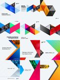 Set of modern design abstract templates. Creative business background with colourful triangles for promotion, banner Stock Image