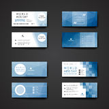 Set of modern design banner template in World AIDS Stock Photos