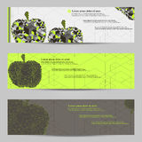 Set of modern design banners headers template with abstract cube apple pattern Stock Images