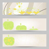 Set of modern design banners headers template with abstract cube apple pattern Royalty Free Stock Photography