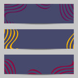 Set of modern design banners, headers template with abstract 3d volume striped, wavy diagonal pattern background. Graphic style for banners, headers vector illustration