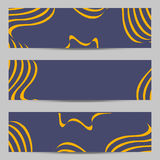 Set of modern design banners, headers template with abstract 3d volume striped, wavy diagonal pattern background Royalty Free Stock Photography