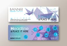 Set of modern design web banners template with abstract line polygon background.  Royalty Free Stock Photography