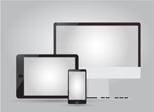 Set of Modern Digital devices. Set of Modern Digital devices on grey background Royalty Free Stock Images