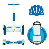 Set of modern eco vehicles. Monowheel, unicycle, segway, scooter wheels on white background. Royalty Free Stock Photography