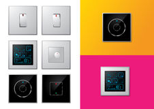 Set of modern electrical switches Stock Photography