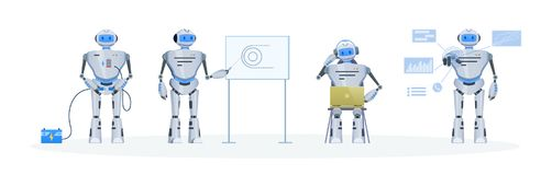 Set of modern electronic robot, chat bot. Working, education, support. Set of electronic robot, chat bot. Welcome robot, recharging with energy, data, using royalty free illustration