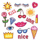 Set of modern elements patches rose, lips, star, diamond, eyes, crown, inscriptions and other. Vector stickers in the style of pop art for your design Royalty Free Stock Photography