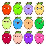 Set of 12 modern emoticons cute cartoon apple with different emotions. Vector Illustration Flat style. Royalty Free Stock Photography