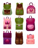 Set of modern fashionable backpacks for young people of different shapes and colors. Roomy backpacks vector illustration