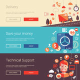 Set of modern flat design business banners. Set of vector modern flat design business banners, headers with icons and infographics elements. Delivery, technical Royalty Free Stock Images