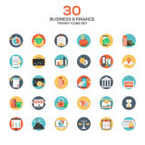 Set of modern flat design Business and Finance icons. Creative concepts and design elements for mobile and web applications. Vector Royalty Free Stock Photography