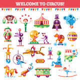 Set of modern flat design circus and carnival Stock Image