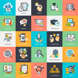 Set of modern flat design concept icons for internet marketing Royalty Free Stock Photos