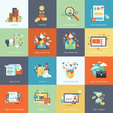 Set of modern flat design concept icons for marketing stock illustration