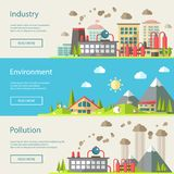 Set of modern flat design conceptual ecological Stock Photography