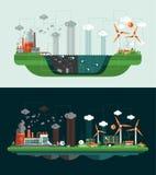 Set of modern flat design conceptual ecological Royalty Free Stock Image