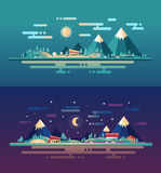 Set of modern flat design conceptual landscapes Royalty Free Stock Images