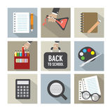 Set of Modern Flat Design Education Icons Stock Image