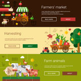 Set of modern flat design farm and agriculture Stock Image