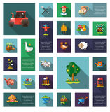 Set of modern flat design farm agriculture icons Royalty Free Stock Photos