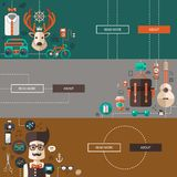 Set of modern flat design hipster illustrations Royalty Free Stock Image