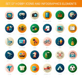 Set of modern flat design hobby icons and Stock Photo