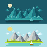 Set modern flat design with houses and mountains. Royalty Free Stock Image