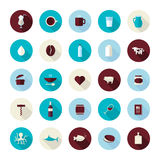 Set of modern flat design icons for food and drink Royalty Free Stock Photos