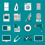 Set  modern flat design icons of home appliances Stock Photo