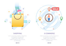 Set of modern flat design icons for online shopping, E-commerce, shoping map, shopping bag, sale. Royalty Free Stock Photography