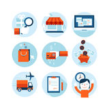 Set of modern flat design icons on the topic of on stock illustration