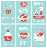 Set of modern flat design illustrations of Valentines day greeting cards Royalty Free Stock Photography