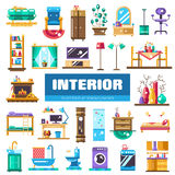 Set of modern flat design interior icons and. Set of vector modern flat design interior icons and elements. Domestic furniture Royalty Free Stock Photos