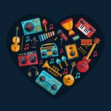 Set of modern flat design musical instruments and Royalty Free Stock Photography