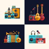 Set of modern flat design musical instruments and Stock Photos