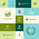Set of modern flat design nature and technology icons royalty free illustration