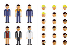 Set of modern flat design profession characters Royalty Free Stock Photos