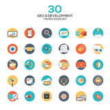Set of modern flat design SEO and development icons Royalty Free Stock Photo