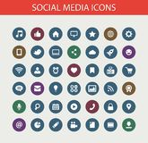 Set of modern flat design social media icons Stock Photos