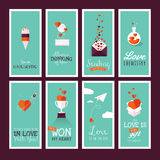 Set of modern flat design Valentines day greeting Stock Images
