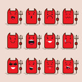Set of 12 modern flat emoticons: devil, monster, lucifer smile, sadness and other emotions. Vector illustration isolated Royalty Free Stock Image